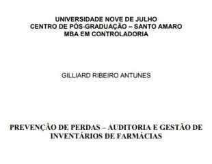 PREVENÇÃO DE PERDAS – AUDITORIA E GESTÃO DE INVENTÁRIOS DE FARMÁCIAS